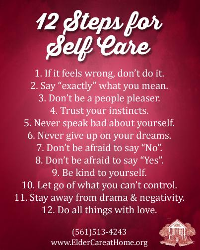 12 Steps To Self Care Copy Eldercare At Home